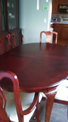 Dining room table,  chairs,  matching buffet,  with two captain chairs,